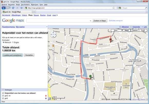Default googlemaps afstand