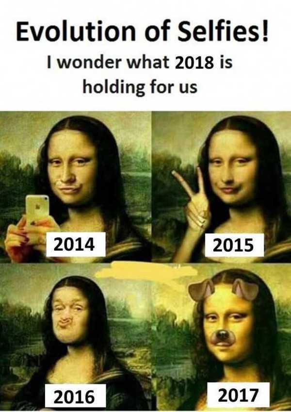 Default evolution of selfies i wonder what 2018 is holding for us 2014 2015 2016 2017 gmjyg